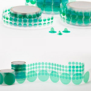 PET Green Polyester Masking Dots(Discs)with Wishbone Handle for Powder Coating, Plating and Anodizing