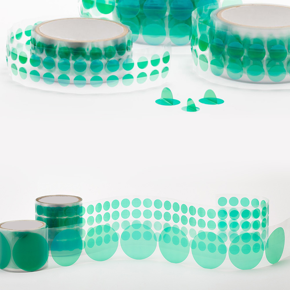 PET Green Polyester Masking Dots(Discs)with Wishbone Handle for Powder Coating, Plating and Anodizing Featured Image
